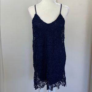 Lulu's navy crochet floral lace slip dress